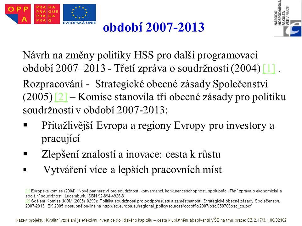 období 2007-2013 Návrh na změny politiky HSS pro další programovací období 2007–2013 - Třetí zpráva o soudržnosti (2004) [1] .
